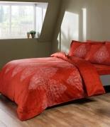 Комплект постельного белья Tac сатин Digital Caledon kirmizi семейное красный