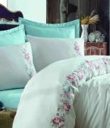 Комплект постельного белья Dantela Vita Embroidered Frezya mavi евро голубой