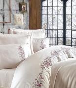 Комплект постельного белья Dantela Vita Embroidered Efsa krem евро кремовый
