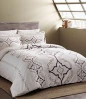 Комплект постельного белья Tac сатин Delux Ginza V01 murdum семейный фиолетовый