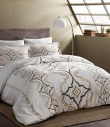 Комплект постельного белья Tac сатин Delux Ginza V02 gold семейный золотой