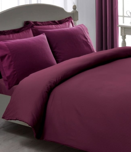 Комплект постельного белья Tac Premium Basic Stripe murdum евро плюс фиолетовый