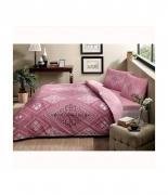 Комплект постельного белья Tac ранфорс Silva V01 gul kurusu полуторный грязно розовый