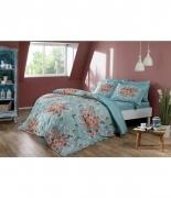 Комплект постельного белья Tac сатин Digital Alanis V01 mavi полуторный голубой
