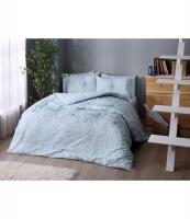 Комплект постельного белья Tac ранфорс Briana V05 turkuaz семейное бирюзовый