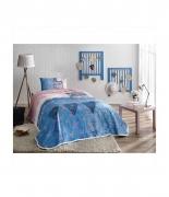 Комплект постельного белья с пике Tac Lacy V01 mavi полуторный голубой