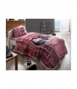 Комплект постельного белья с пике Tac Listen V02 pembe полуторный розовый