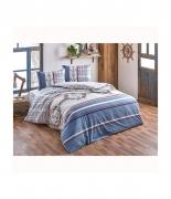 Комплект постельного белья Brielle ранфорс Deniz mavi евро голубой