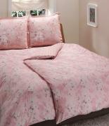 Комплект постельного белья Tac сатин Delux Shadow V55 pembe семейный розовый