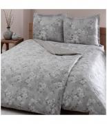 Комплект постельного белья Tac сатин Delux Shadow V56 gri семейный серый
