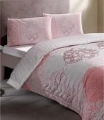 Комплект постельного белья Tac Complete set Aryan V02 pembe евро розовый