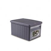 Ящик для хранения с крышкой и фронтальной дверцей Stefanplast ELEGANCE М голубая 29993