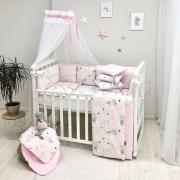 Постельный комплект Baby Design Коты в облаках розовый 7 ед.
