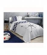 Комплект постельного белья с пике Tac Navi V01 lacivert евро синий