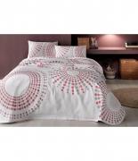 Комплект постельного белья с пике Tac Moon V02 pembe евро розовый