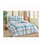 Комплект постельного белья Brielle ранфорс Atlas mavi евро голубой