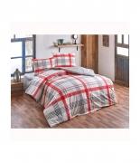 Комплект постельного белья Brielle ранфорс Atlas kirmizi полуторный красный