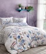 Комплект постельного белья Tac сатин Digital Lindy V02 евро голубой