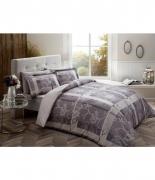 Комплект постельного белья Tac сатин Delux Madre V01 семейный серый