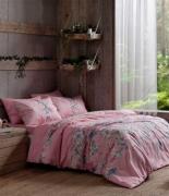 Комплект постельного белья Tac ранфорс Fleur V02 кингсайз розовый