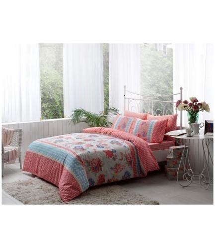 Комплект постельного белья Tac ранфорс Emma V01 кингсайз розовый
