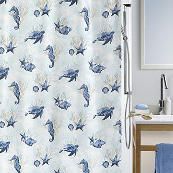 Шторка для ванной текстильная Spirella Deep Sea