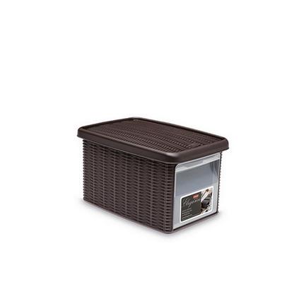 Ящик для хранения с крышкой и фронтальной дверцей Stefanplast ELEGANCE S темно-коричневая 30021