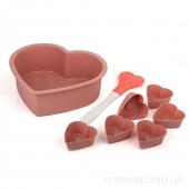 Набор форм силиконовых для выпечки (кекс Сердце,мафины Сердце-6шт,лопатка)