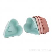 Форма силиконовая для выпечки кексов Сердце, 6шт, 7см