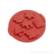 Форма силиконовая для выпечки кексов Рождество, 6 ячеек, 24,5х22,5х2см