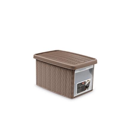 Ящик для хранения с крышкой и фронтальной дверцей Stefanplast ELEGANCE S коричневая 30022