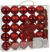 Елочные шарики 33 шт комплект микс оттенков красного 76022