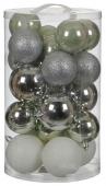Елочные шарики комплект 23 шт, цвет: микс оттенки серого