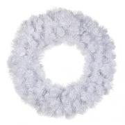 Венок декоративный искусственный белый с блеском 60 см.