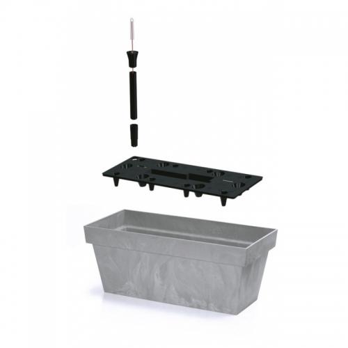 Балконный ящик CUBE beton 400мм с вкладышем
