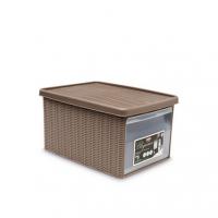 Ящик для хранения с крышкой и фронтальной дверцей Stefanplast ELEGANCE М коричневая 30002