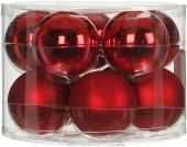 Елочные шарики 10 шт., комплект, цвет красный