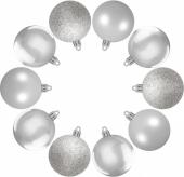 Елочные шарики 10 шт., комплект, цвет серый 38833