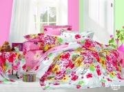 Евро комплект постельного белья Сатин «Цветочный рай»