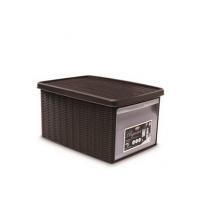 Ящик для хранения с крышкой и фронтальной дверцей Stefanplast ELEGANCE М темно-коричневая 30003