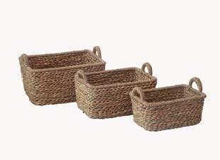 Корзина плетенная для хранения прямоугольная