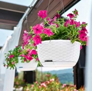 Горшок для цветов круглый подвесной с автополивом STEFANPLAST NATURAL