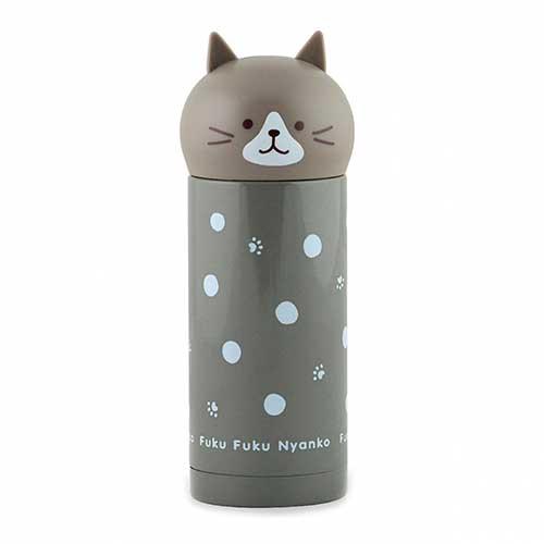Детский термос 250 мл серый Кошка