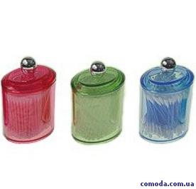 Емкость косметическая с ватными палочками цветная