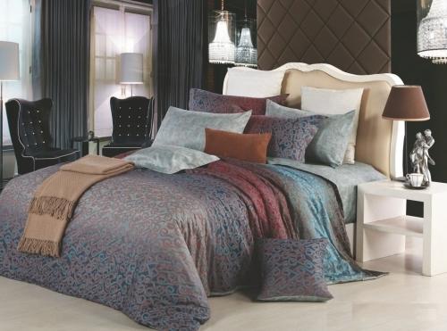 Евро king size комплект постельного белья Сатин «Фиона»