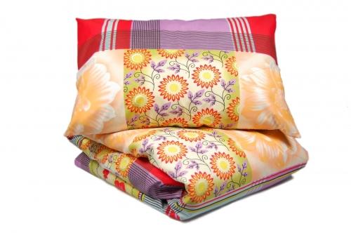 Евро комплект постельного белья эконом «Цветы»