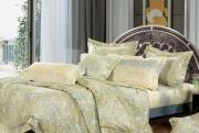 Евро комплект постельного белья Сатин «Фреска золотой»