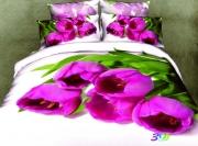Евро комплект постельного белья Сатин «Букет тюльпанов»