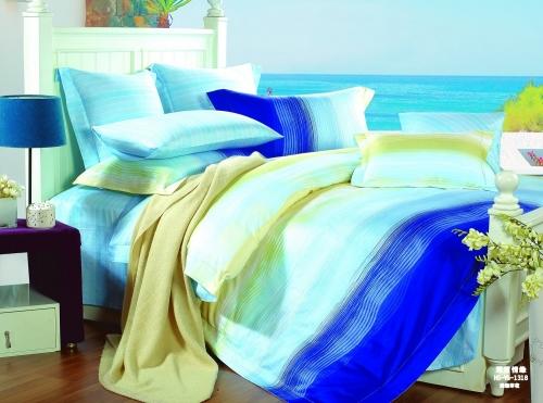 Евро комплект постельного белья Сатин «Морской бриз»