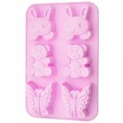 Форма для выпечки 6 кексов Зайчик, мишка, бабочка